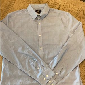 H & M Easy Iron Slime Fit Large Blue Shirt